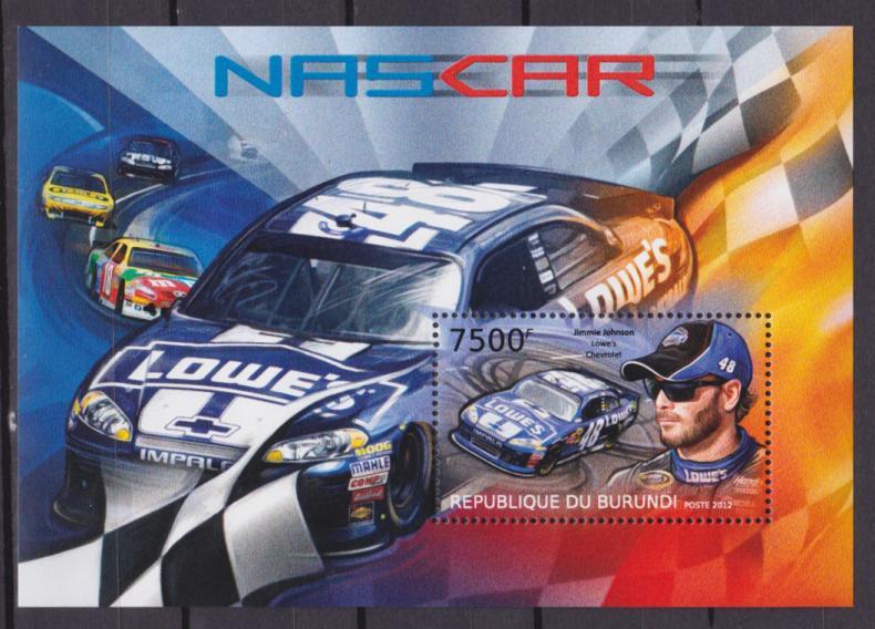 почтовых марки с автомобилями