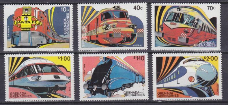 почтовых марки с поездами